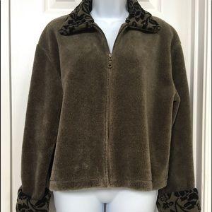 Floral Print Zipper Front Sweater Jacket